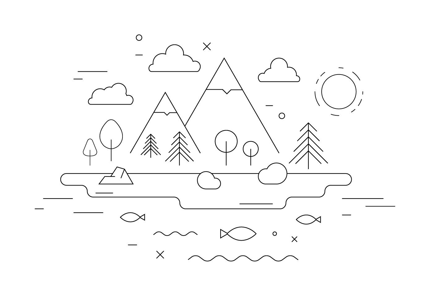 Town Landscape Vector Illustration: Mountain Landscape Vector Illustration