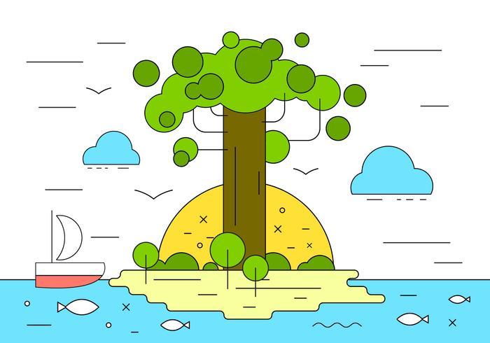 Baobob Island Vector Illustration