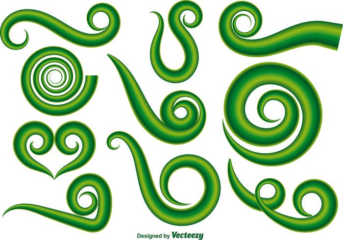 Vector Set Of Green Maori Koru Curl Ornements