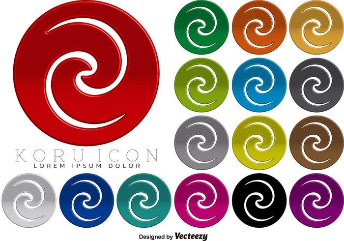 Maori Koru 3D Icon Colorful Buttons Vector
