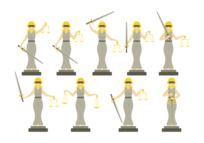 Lady Justice Illustration in Flat Design Style