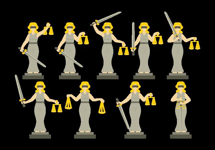 Ilustración de justicia de señora en el estilo de diseño plano vector
