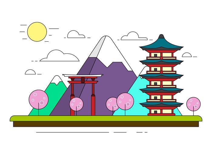 Free Japanese Landscape Illustration
