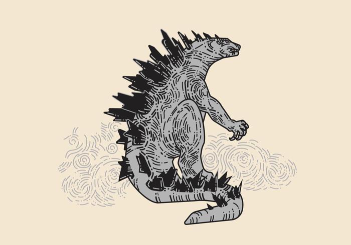 Hand gezeichnet Godzilla Vektor