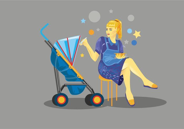 Vecteur enfant d'alimentation de babysitter