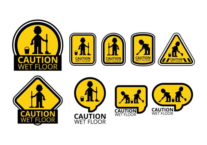 Wet Floor Icons Vector
