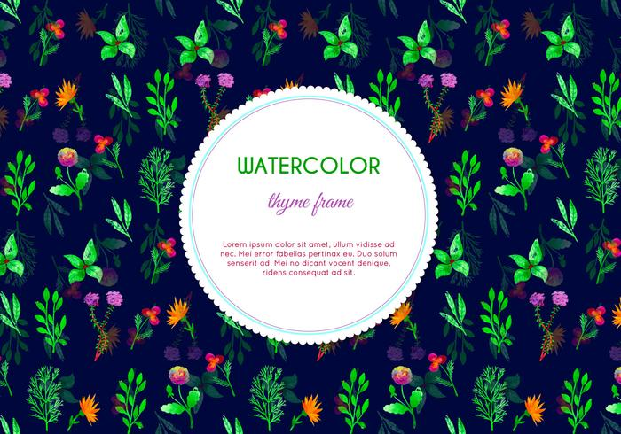 Dark Watercolor Thyme Flowers Vector