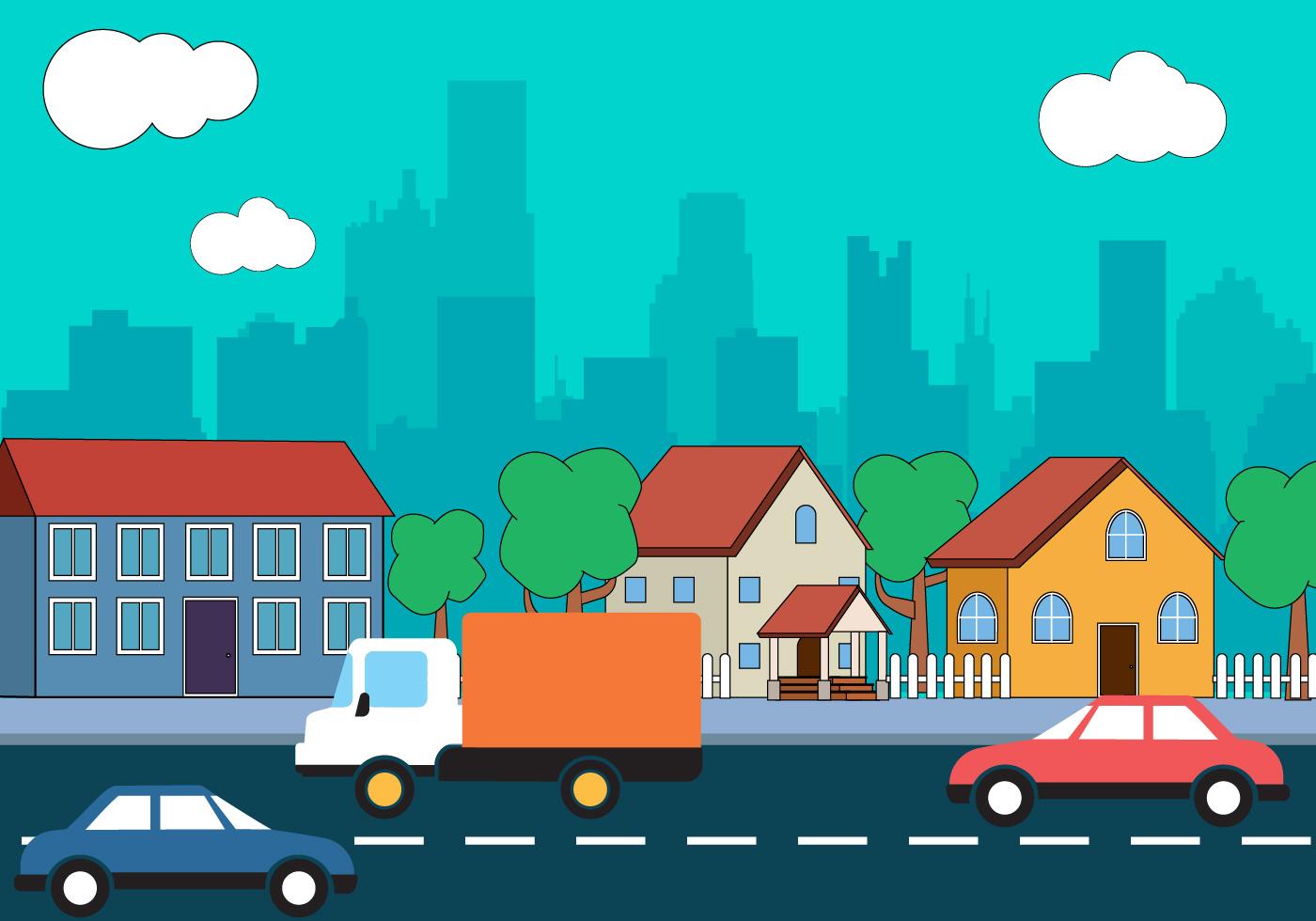 Town Landscape Vector Illustration: City Landscape Vector Design