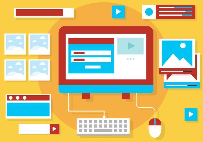 Diseño plano libre Vector Elementos Web e iconos