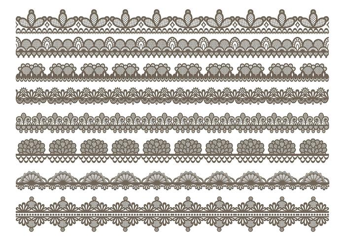 Lace Trim Icons vector