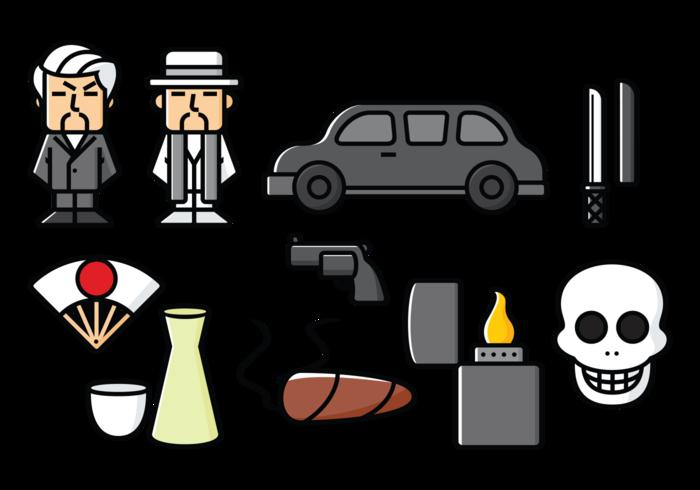Yakuza, Japans Organized Crime Icons vector