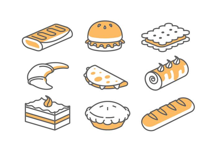 Icônes de boulangerie / gâteau vecteur