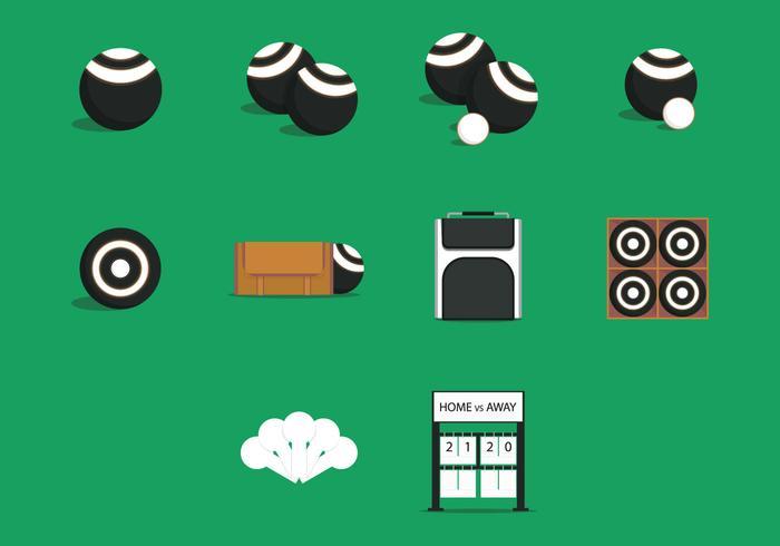 Gräsmatta skålar utrustning ikonuppsättning