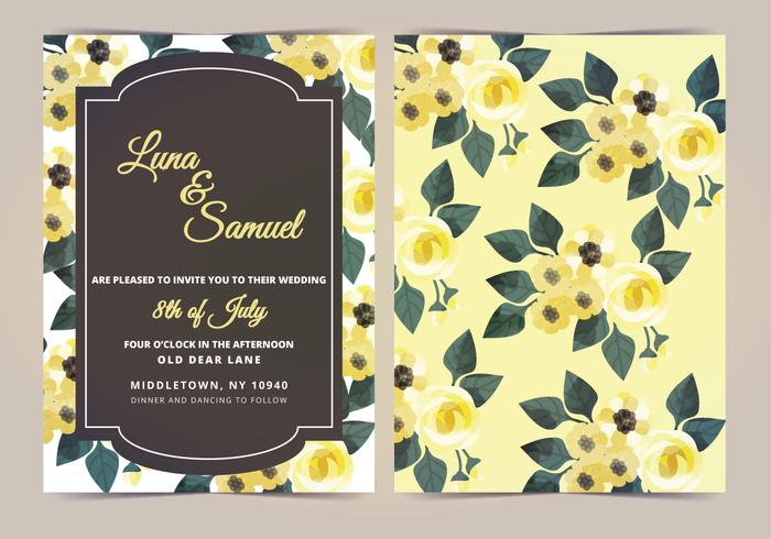 Vector Citroen Geel Bloemen Trouwen Uitnodigen