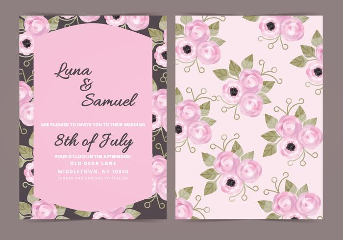 Vector Dark Floral Wedding Invite