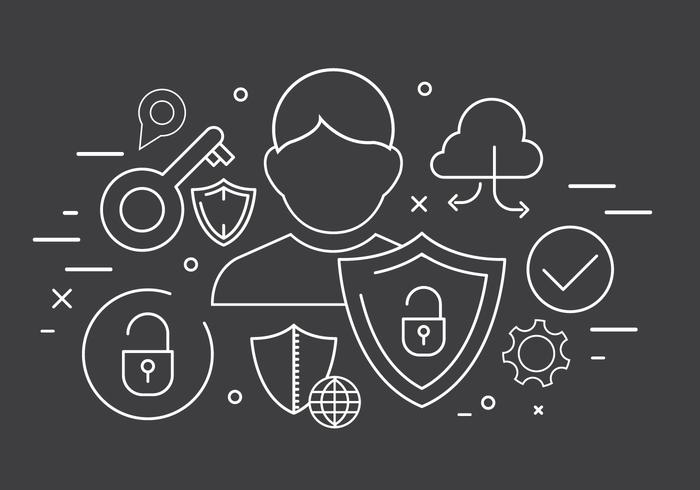 Icône de technologie vectorielle gratuite et icônes de sécurité