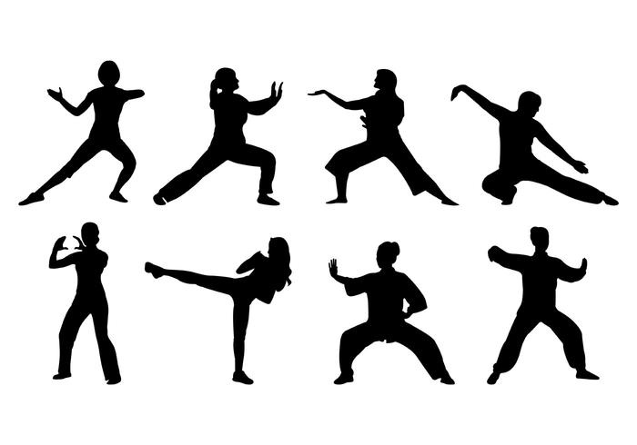 Silhouette Of Tai Chi Women Vector