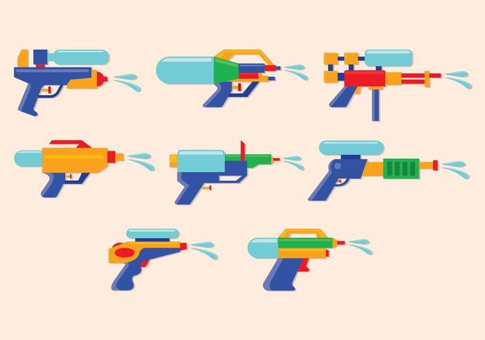 Icônes vectorielles d'armes à eau