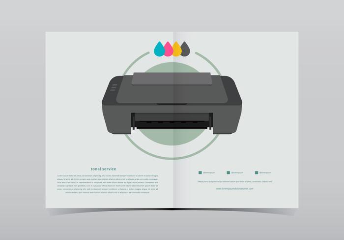 Impresora de tóner con ilustración de tinta
