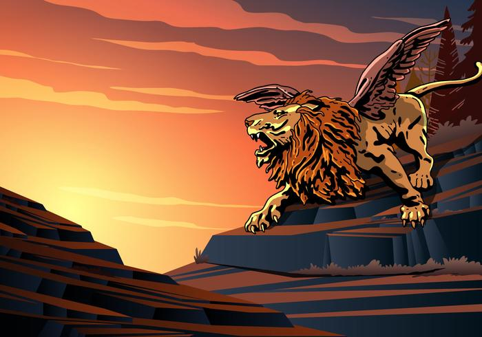 Winged Lion Screaming