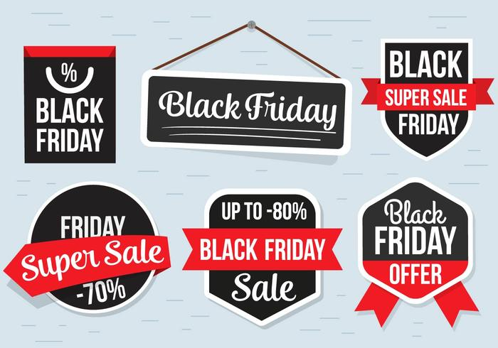 Gratis Black Friday Labels Vector