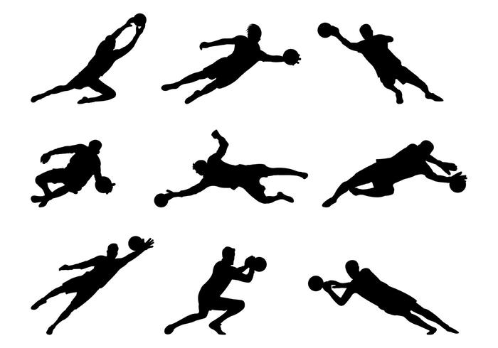 Set Of Goal Keeper Silhouettes