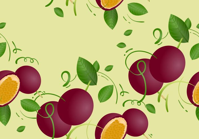 Free Passion Fruit Seamless Pattern Vector Illustration
