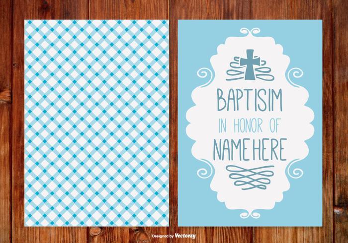 Gingham Baptisim Kaart voor Jongen vector