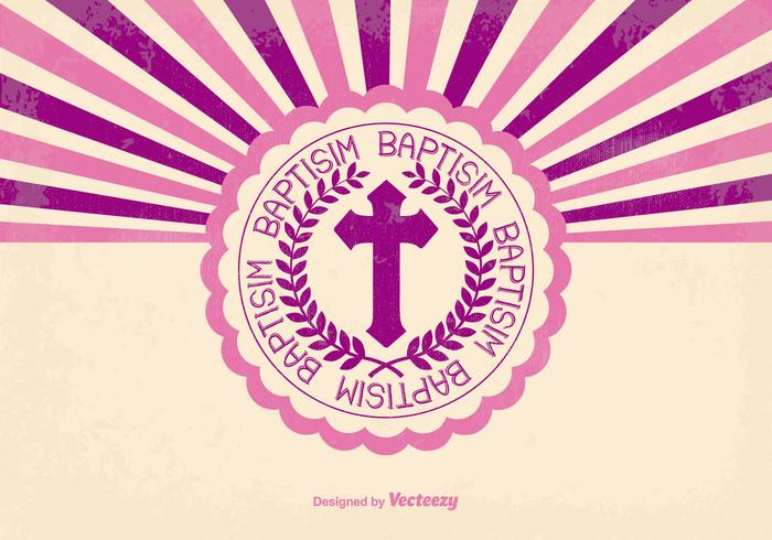 Pink Retro Baptisim Card