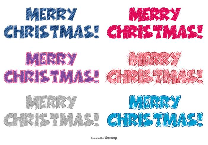 Scribble Style Merry Christmas Lettering