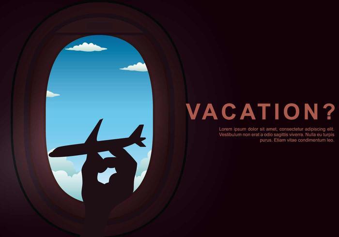 Ilustración de la ventana del avión de vacaciones