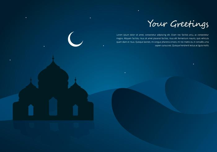 Arabian Night Mosque And Desert Greetings Template