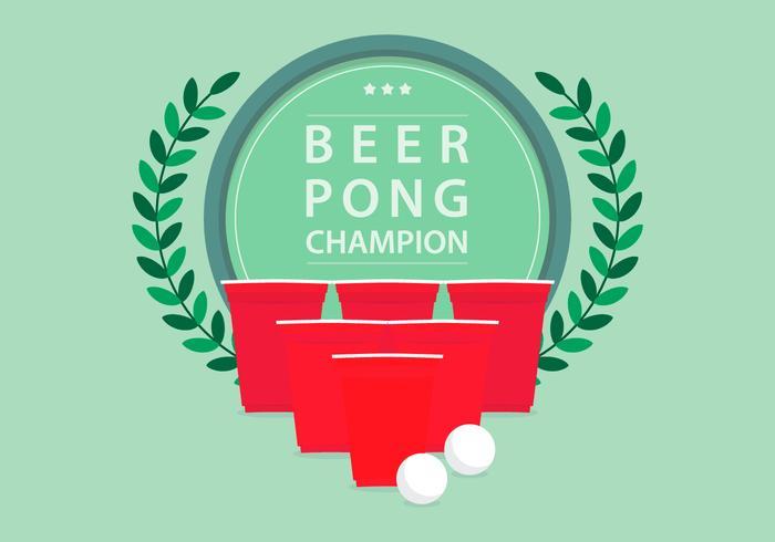 Bier Pong Kampioen Toernooi Logo Illustratie