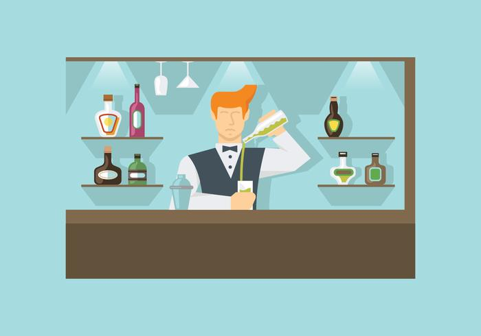 Barman at Work Vectors