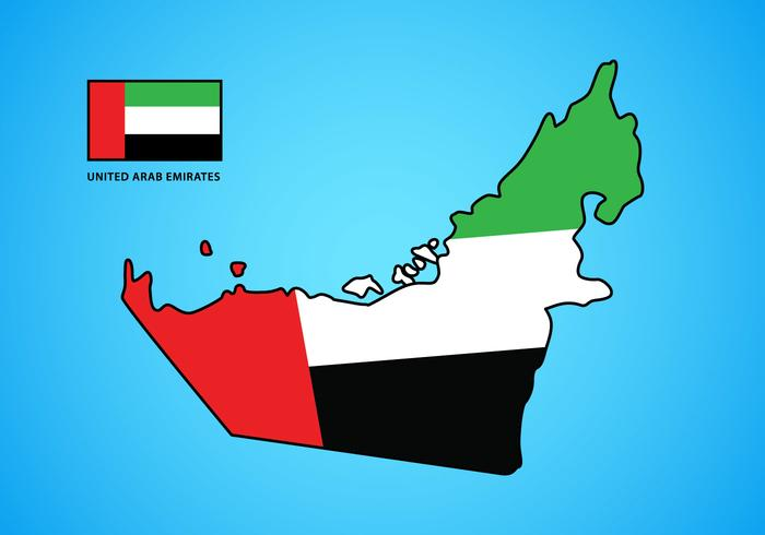 UAE Map with Flag Vector