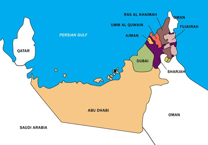 UAE Map Vector Boundary - Download Free Vector Art, Stock Graphics ...