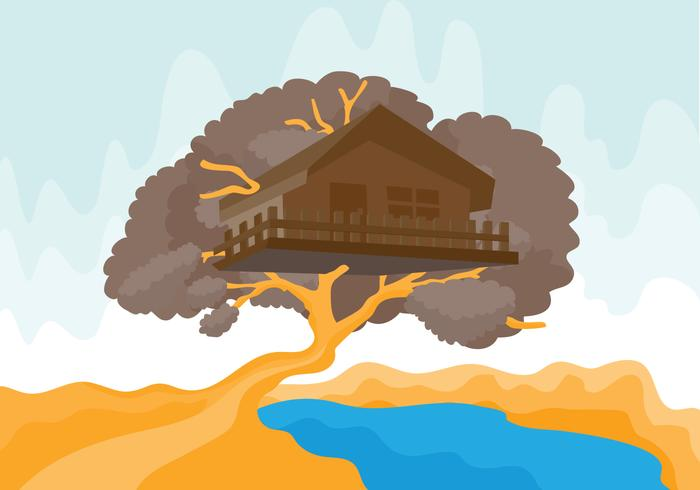 Tree House with River Vector Illustration