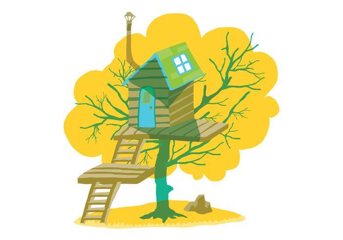 Summer Tree House Vector Illustration