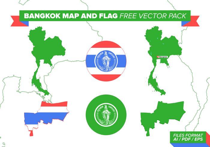 Bangkok Kaart En Vlag Gratis Vector Pakket