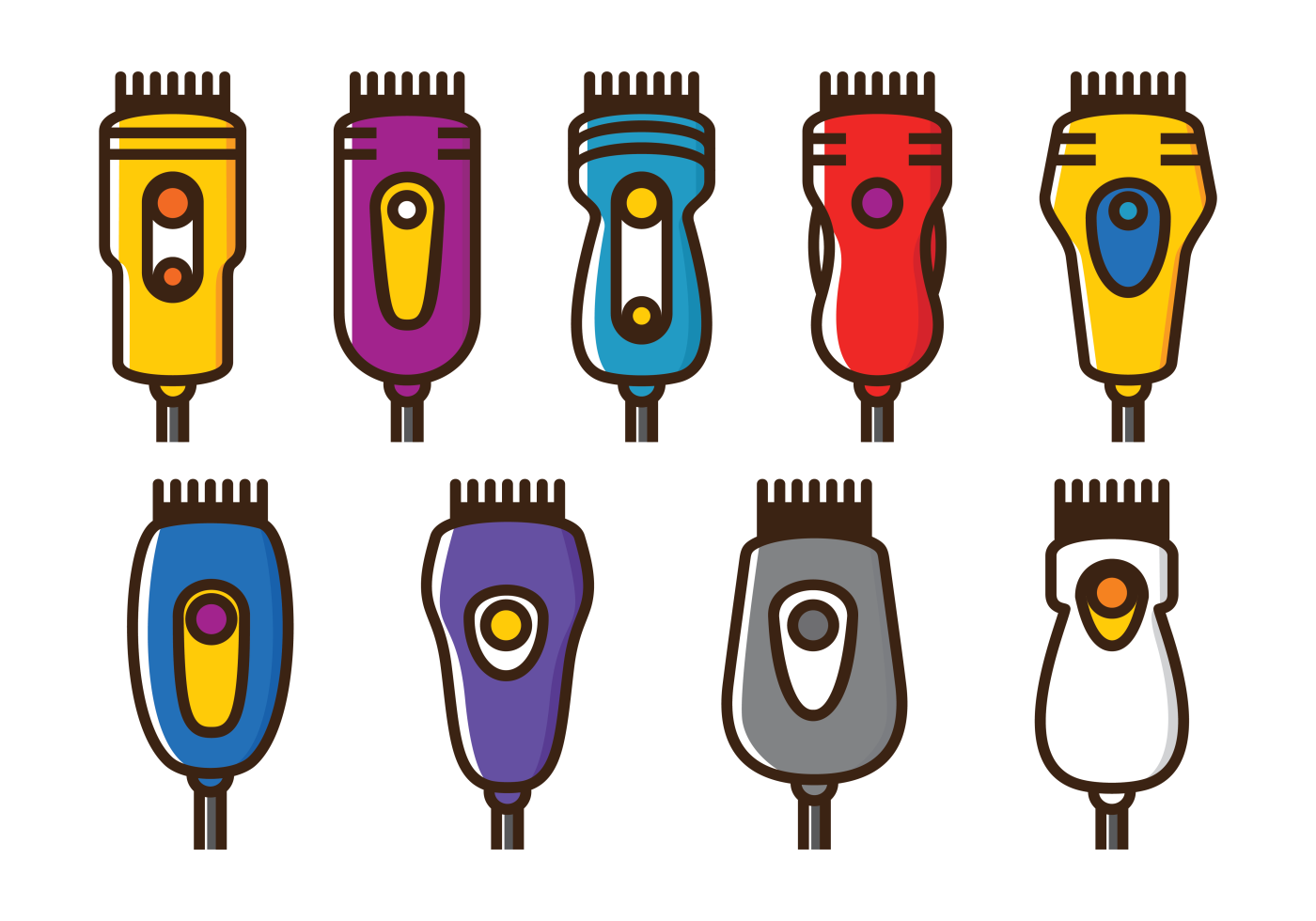 Vector Hair Clippers Icons