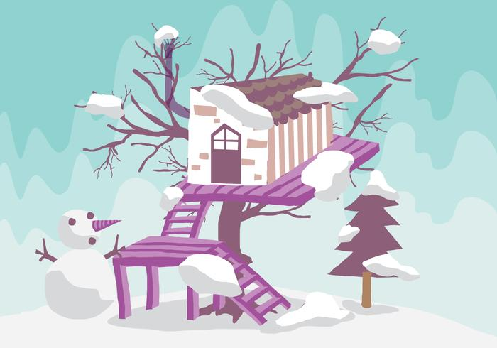 Winter Tree House Illustration Vectorisée