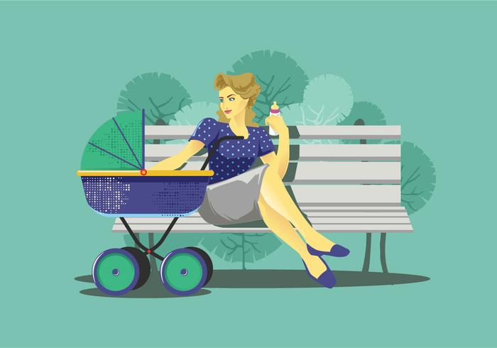 Babysitter on a Bench Vector