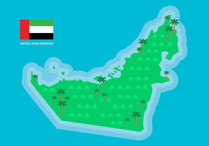 Green UAE Map Vector