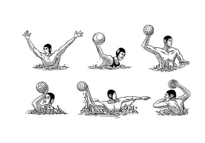 Water Polo Vintage Vector