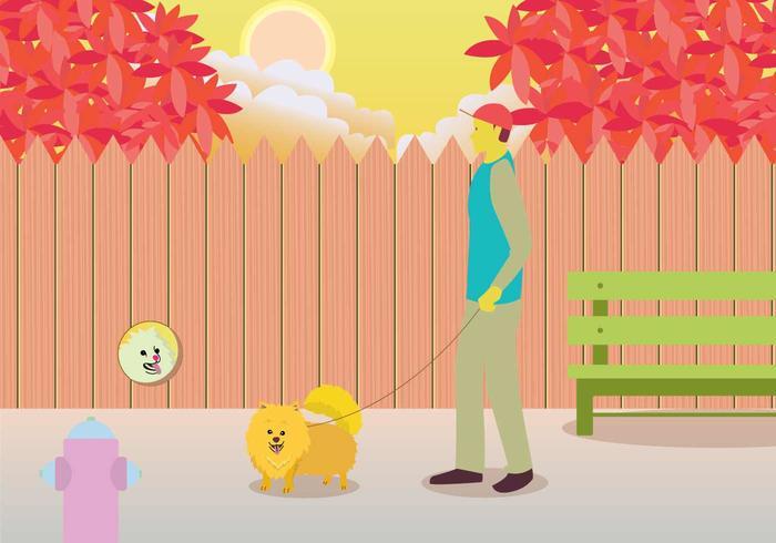 Owner Walking Pomeranian Illustration