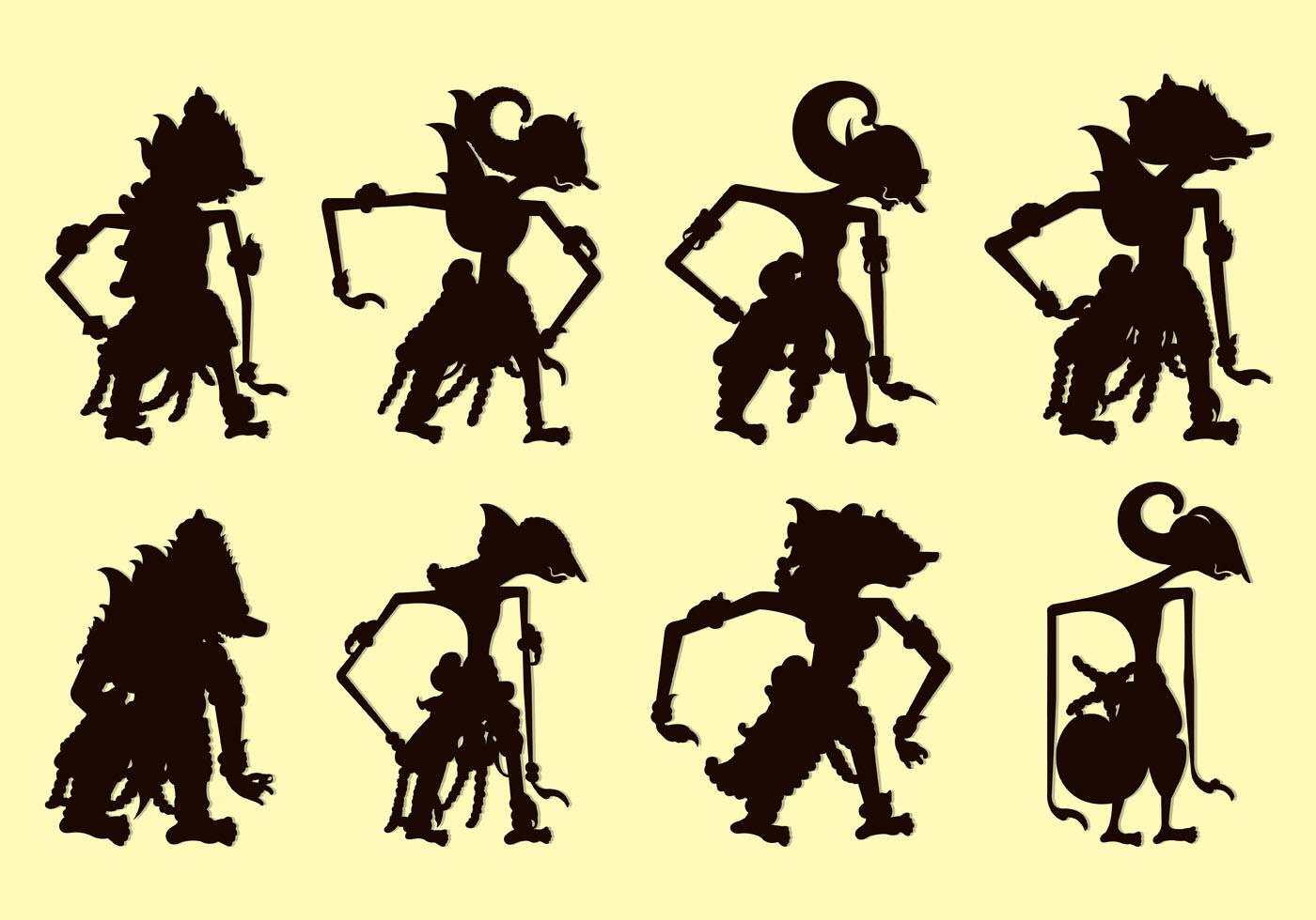 Set Of Wayang Silhouettes