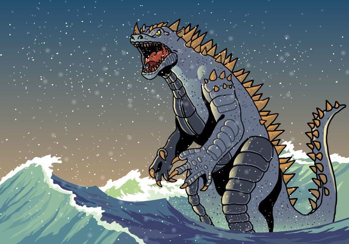 Angry Godzilla in Waves Vector