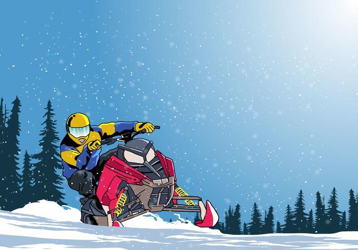 Man Op Sneeuwscooter Vector
