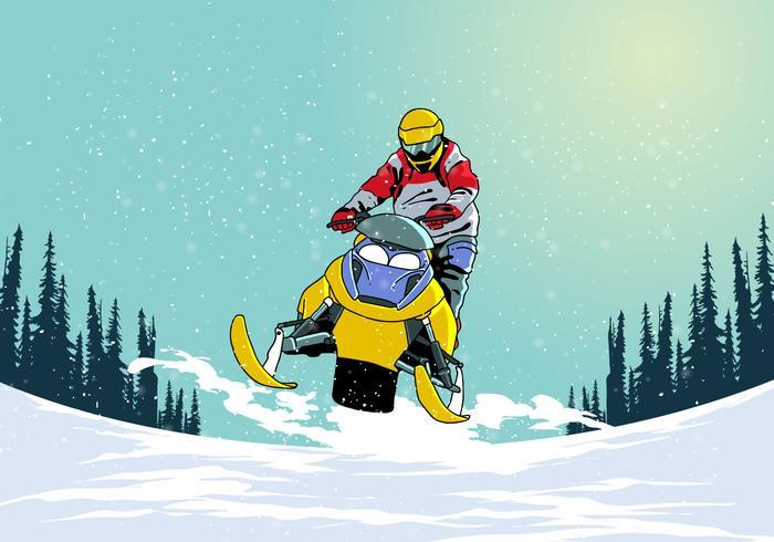 Riding Snowmobile Vector