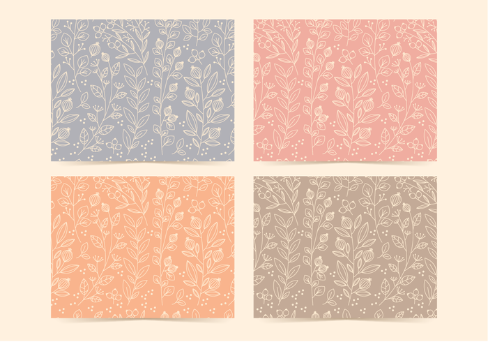 Vector Linear Floral Patterns